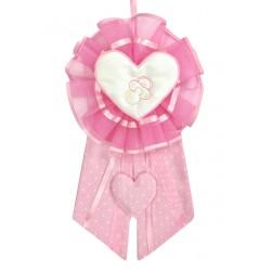 Fiocco Nascita Cuore Rosa Grande Creato artigianalmente a mano da ricamo